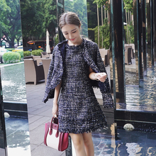 Autumn and Winter New Fashion Elegant Ladies Suits Long Sleeve Coats + O-neck Short Mini Dress Female Jacket Dress Women's Sets