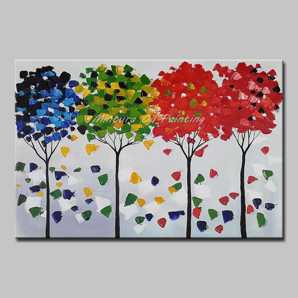 Mintura Art Большой размер Ручная роспись деревья пейзаж картина маслом на холсте настенные художественные картины для гостиной домашний Декор без рамки - Цвет: MT161246