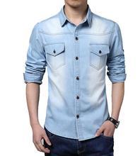 Freies Verschiffen 2015 Frühling Wear Men Jeans Hemd Denim Jeans beiläufige Langhülse Hemd Hohe Qualität Großen größe 3XL 4XL 5XL