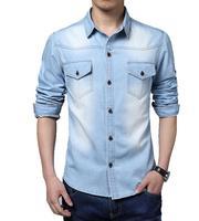 O Envio gratuito de 2017 Desgaste da Mola calças de Brim Dos Homens Calça Jeans Camisa Jeans casual Longo-Luva Camisa de Alta Qualidade tamanho Grande 3XL 4XL 5XL