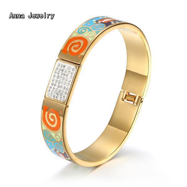 cb2955ddd10 Anna Jewelry New Designer Narrow Cuff Bracelet,Colorful Enamel Style Yellow  Gold Bracelet.Pretty