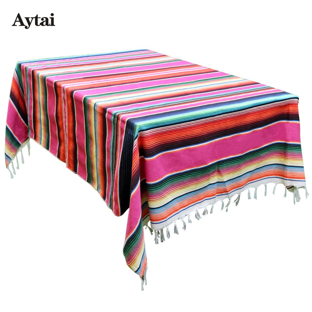 Atytai 150X215cm Mexican Blanket Stripe Tablecloths for Weddings Cotton Travel Serape Bl ...
