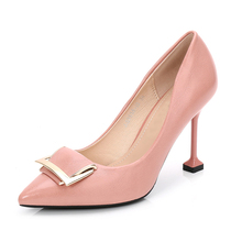 2018 Real Pu Rubber Zapatos Mujer Tacon Ladies Shoes New Spring Women Pumps  Metal High- facae482f8c6