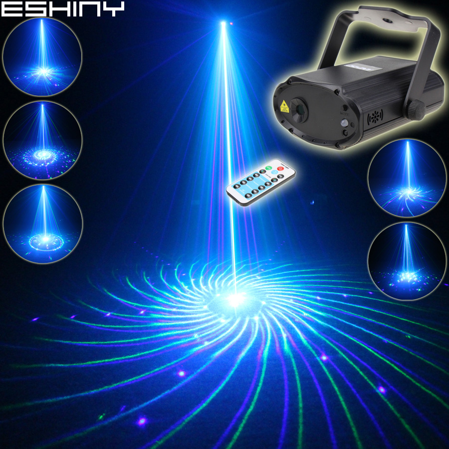 ESHINY MINI Remote Blue Green Laser 24 Big Patterns Projector DJ Dance Disco Bar Party Xmas Stage Lighting Effect Light T177N8