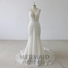 mermaidbridal Backless heavy beading mermaid wedding dress