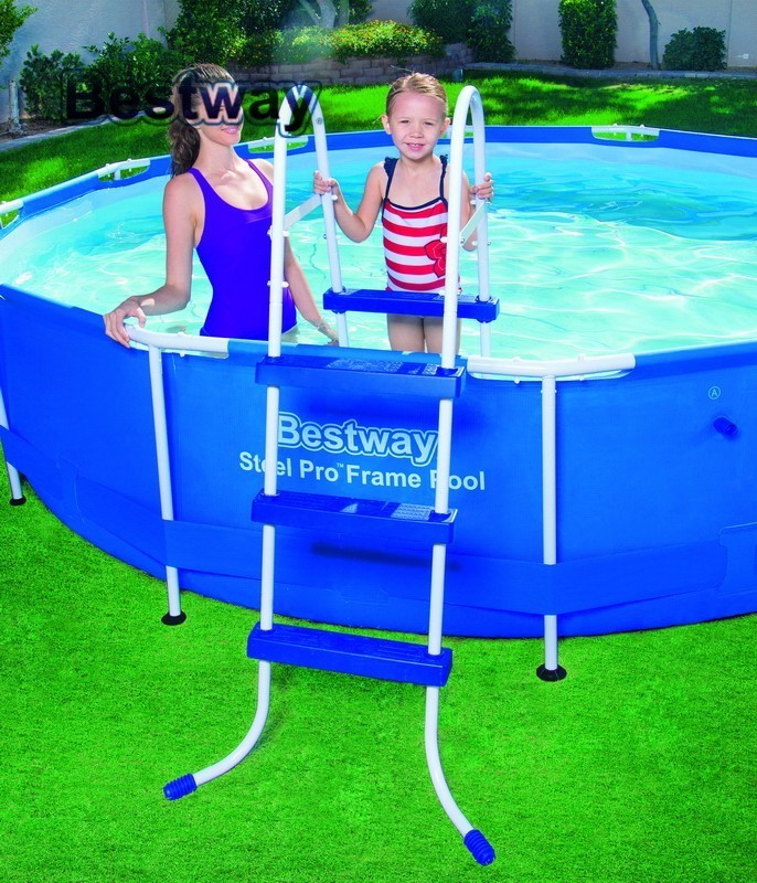 58334 Bestway 91cm Safety Pool Ladder For Asia,Africa,America 36 Inches AGP Ladder For Swimming Pool Of Height Less Than 107cm environmentally friendly pvc inflatable shell water floating row of a variety of swimming pearl shell swimming ring