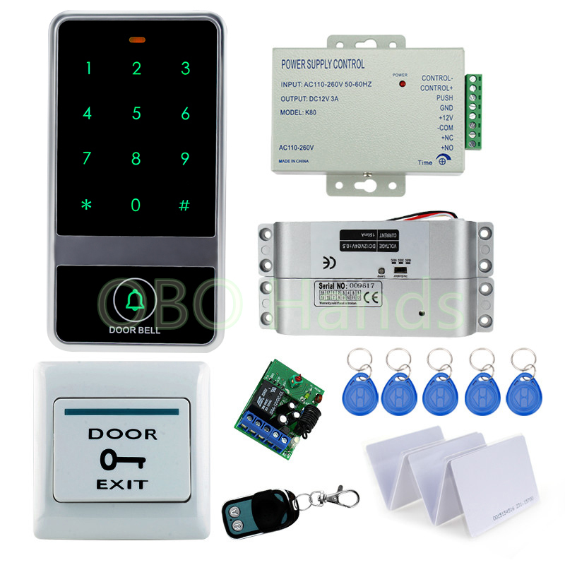 Full RFID Door Access Control System Kit Set With Drop Bolt Lock+power supply+exit button+metal keypad+keys+remote controller rfid fingerprint door lock system access control kit set keypad electric lock power supply rfid keys door exit button best price