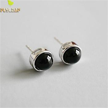 Flyleaf 925 Sterling Silver Round Black Onyx Stud Earrings For Women Personality Simple Earings Fashion Jewelry High Quality flyleaf handmade 925 sterling silver asymmetry drop earrings for women round circle dangle statement earings fashion jewelry