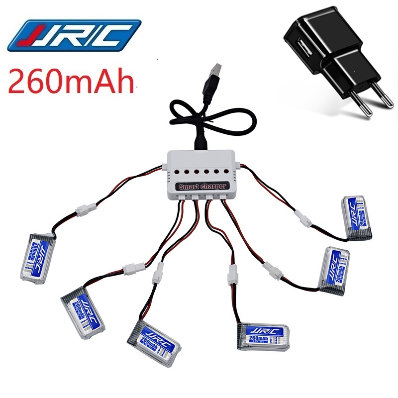 Original JJRC H36 Battery 3.7V 260mAh For E010 E011 E012 E013 F36 3.7v Lipo Battery + 6-in-1 Charger RC Quadcopter Parts
