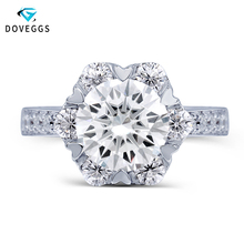 DovEggs 14K White Gold Center 1ct carat 6.5mm F Color Moissanite Diamond Halo Engagement Ring For Women Gold Ring with Accents недорого