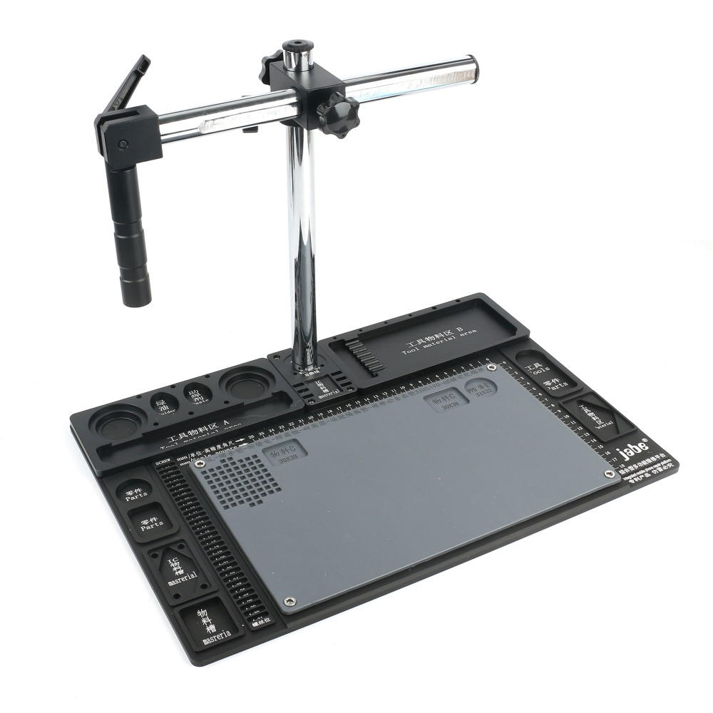 Aluminum Alloy Microscope Base Platform+Single Arm Rotating Bracket High Temperature Resistant Work Mat For Stereo Microscope