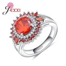 c74a296c6add JEXXI Luxury Women Shiny Austrian Crystal Sun Flower Ring Inlaid Jacinth  Round Rhinestone Fine 925 Sterling