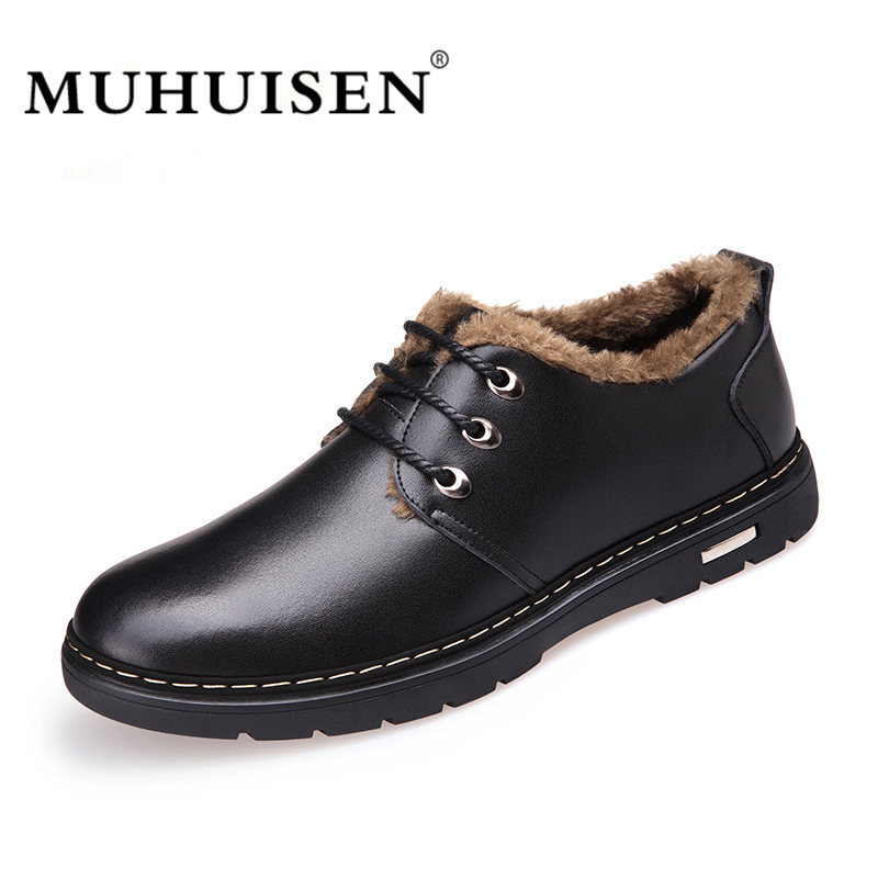 MUHUISEN Winter Men Genuine Leather Shoes Fashion Casual Plush Warm Boots Lace Up Flats Male Snow Boots Fur Inside Comfort xiaguocai new arrival real leather casual shoes men boots with fur warm men winter shoes fashion lace up flats ankle boots h599