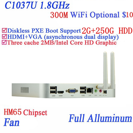 Popular mini pc systems windows7 linux with Celeron dual core C1037U 1.8GHz extreme ultra thin chassis 2G RAM 250G HDD
