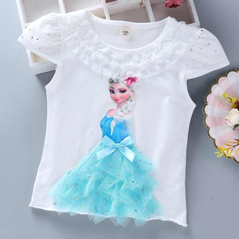 Girls Summer Princess T-Shirt Elsa & Anna Childen Cotton Tees Lace T Shirt 3D Diamond Appliques Kids Birthday Party Top Clothing