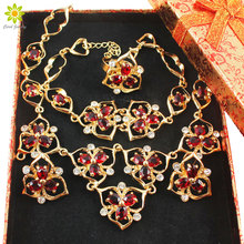 African Gold Color Luxury Bridal Jewelry Sets Wedding Women Wedding Red Flower Necklace Jewelry Sets +Gift Boxes