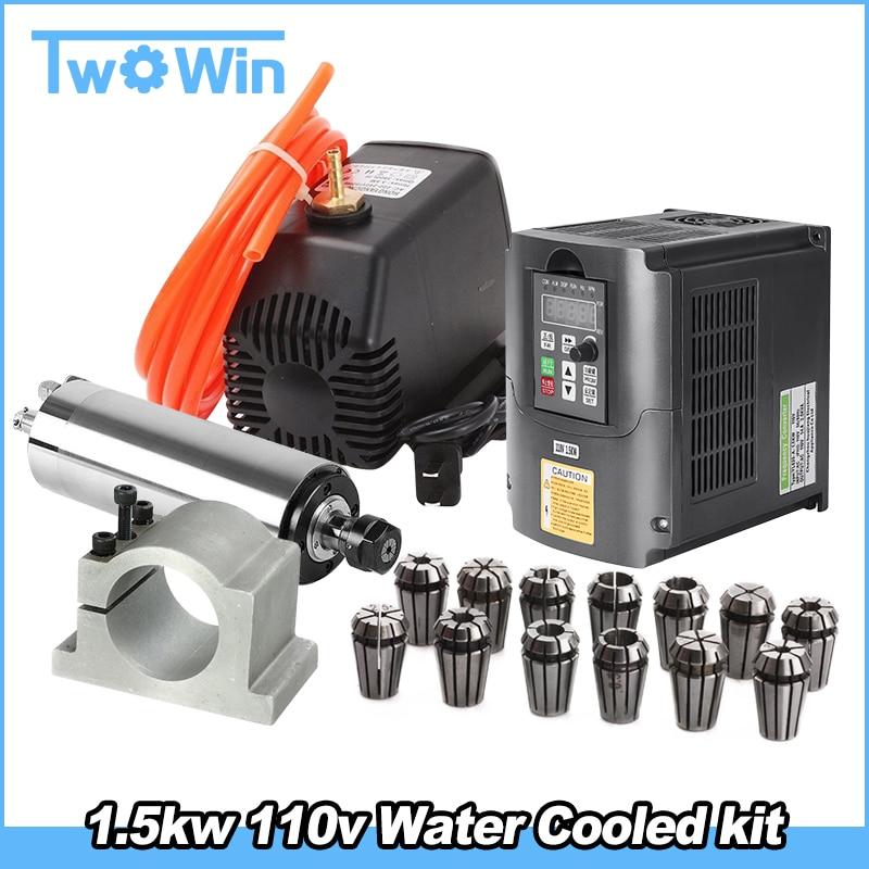 1.5kw 110 220v 水はスピンドルモータ CNC キット + 1.5kw インバータ + 65 ミリメートルクランプマウント + 13 個 ER11 コレット + 5 メートルの水道管 + 110v 水ポンプ  グループ上の ツール からの 工作機械スピンドル の中 1