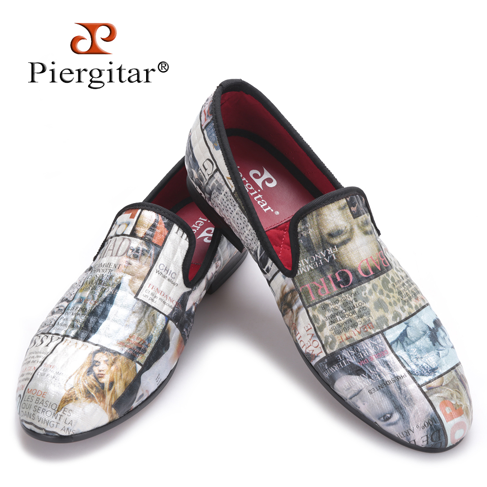 Piergitar 2016 Magazine style Graffiti Cotton Fabric Men loafers with red comfortable cotton insole men causal