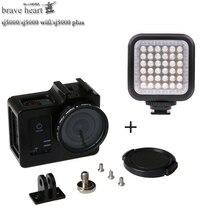 Para sj5000 LED flash light + shell caixa Protetora de Liga de gaiola caso para SJCAM sj5000 mais acessórios da câmera sj 5000 WIFI sj5000x