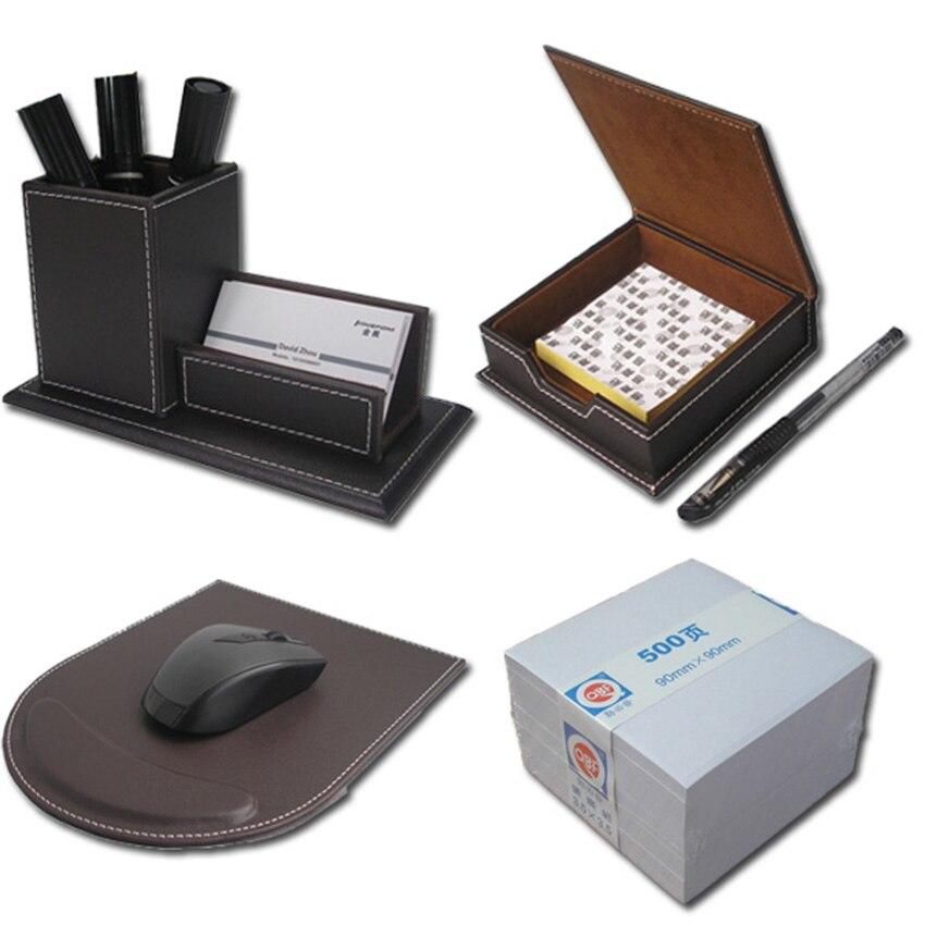 4pcs set leather desk stationery organizer pen box with - Leather desk organizer set ...