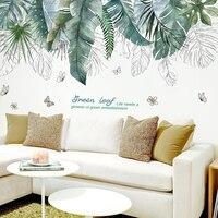 [SHIJUEHEZI] Тропическое дерево листья настенные стикеры s DIY настенные наклейки с цветами для гостиной спальни Украшение Наклейка для украшения ...