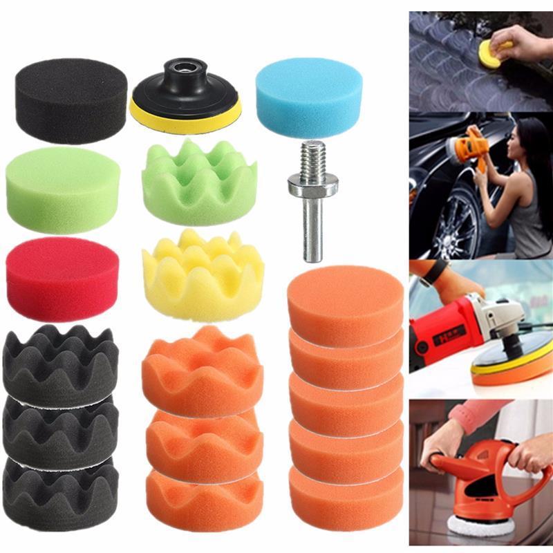19pcs car vehicle 80mm polishing buffer pad car polishing sponge kit polishing wheel m10 drill. Black Bedroom Furniture Sets. Home Design Ideas