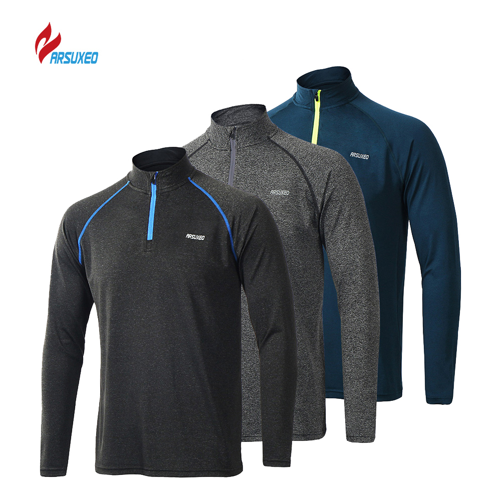 ARSUXEO Mens Running T Shirts Long Sleeves Quick Dry Training Jersey Clothing Workout Sports Tshirt For Men sportshirts mannen