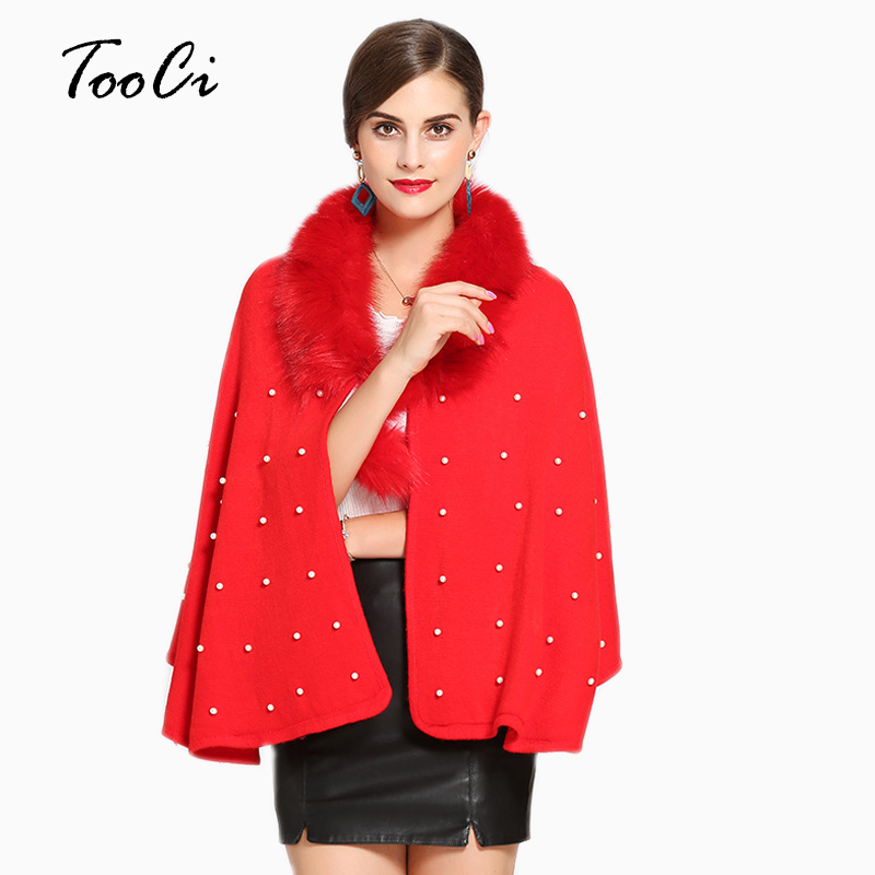 Elegant Red Faux Fur Coat Women Spring Ponchos And Capes Fur Cashmere Feel Plush Overcoat Outerwear Cardigan Women Coat