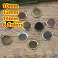 10mm, 12mm, 14mm 100 unids de Bronce/Plata/Oro/Negro Colgante En Blanco con percha Bandejas Bases Cameo Cabochon para el Vidrio/Pegatinas