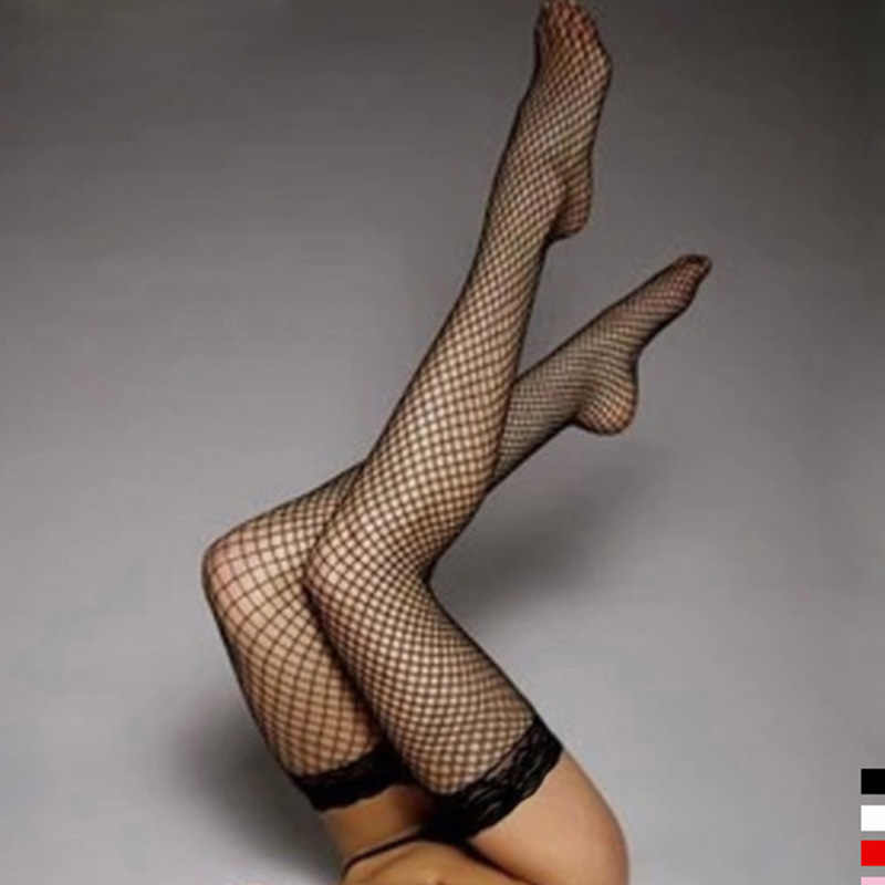 5 Colors Sexy Women'Stocking Lace Top Stay Up Đùi Cao Stockings Hàng Dệt Kim Rỗng Ra Khỏi Lưới Lưới Vớ Fishnet Pantyhose