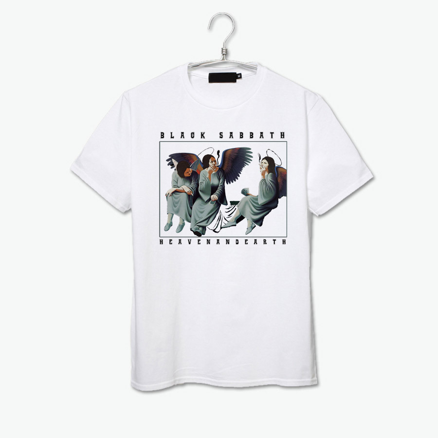 Black sabbath t shirt xxl - Heaven And Earth Smoking Anxious Angels Vintage Fashion Black Sabbath Rock Band T Shirt China