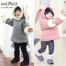 New 2015 Winter Fashion Girl Hoodies Cashmere Worm Appliques Ears Kid Tops Animal Design Children Clothes