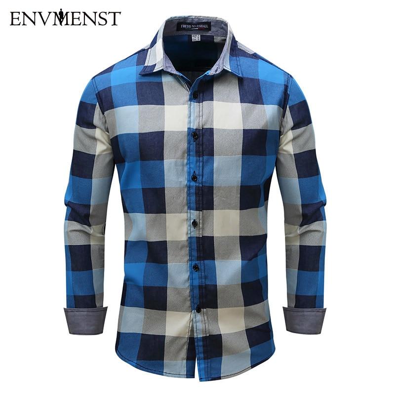 Envmenst 2017 New Fashion Men Denim shirts Slim Fit Men Plaid Long Sleeve Shirt High Quality Men Cotton Casual Men shirts