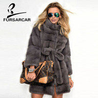 FURSARCAR 2018 Real Mink Fur Coats Women With Fur Collar Whole Skin Winter Warm Jacket Female Luxury Mink Fur Coat