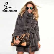 FURSARCAR 2019 Real Mink Fur Coats Women With Fur Collar Whole Skin Winter Warm Jacket Female Luxury Genuine Gray Mink Fur Coat