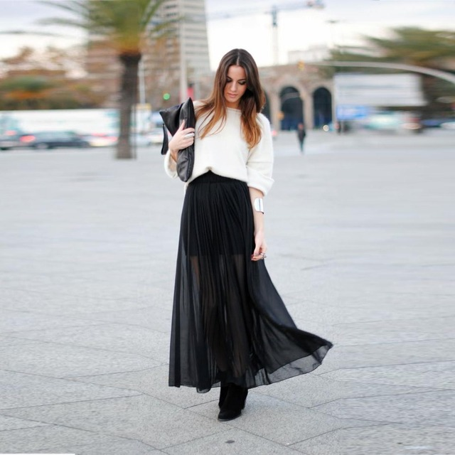 4878e51eb Fashion Street Style Women Skirts Floor Length Black Long A Line Skirt  Sheer Chiffon With Short