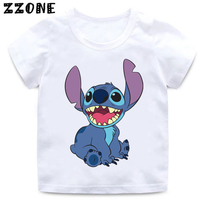 Boys And Girls Cartoon Stitch And Lilo/Pikachu/BB-8 Print T Shirt Kids Funny Clothes Baby Summer White T-shirt,ooo5218
