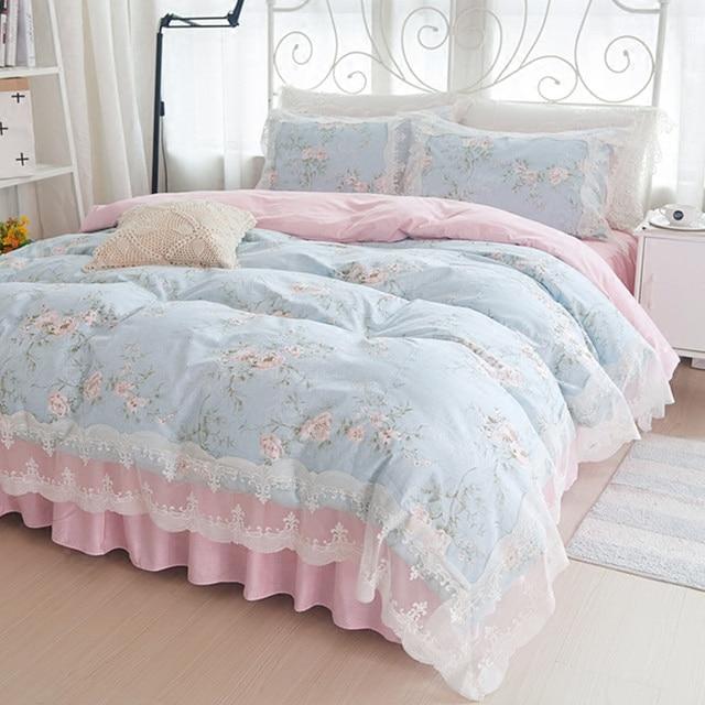Juego de ropa de cama de princesa Coreana de algodón 4 piezas funda de edredón de encaje para niñas juego de ropa de cama de boda king queen-in Juegos de ropa de cama from Hogar y Mascotas    1