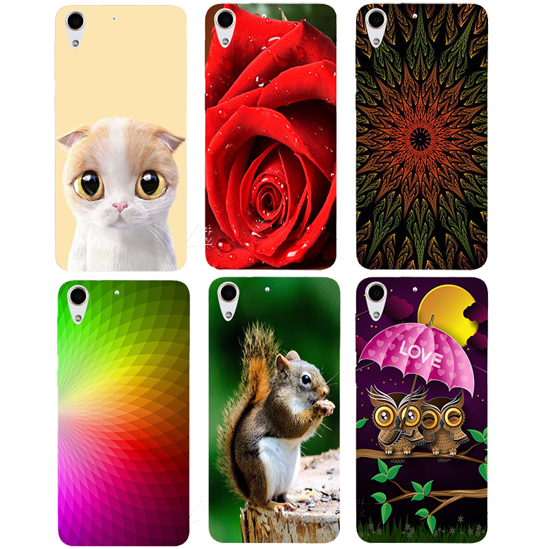 new arrival 851b4 e651c US $2.55 29% OFF|Case For HTC Desire 728 728G Dual Sim D728T D728W Back  Cover Flower Original Printed Cartoon Cute Cat Owl Animal Phone Case-in  Fitted ...