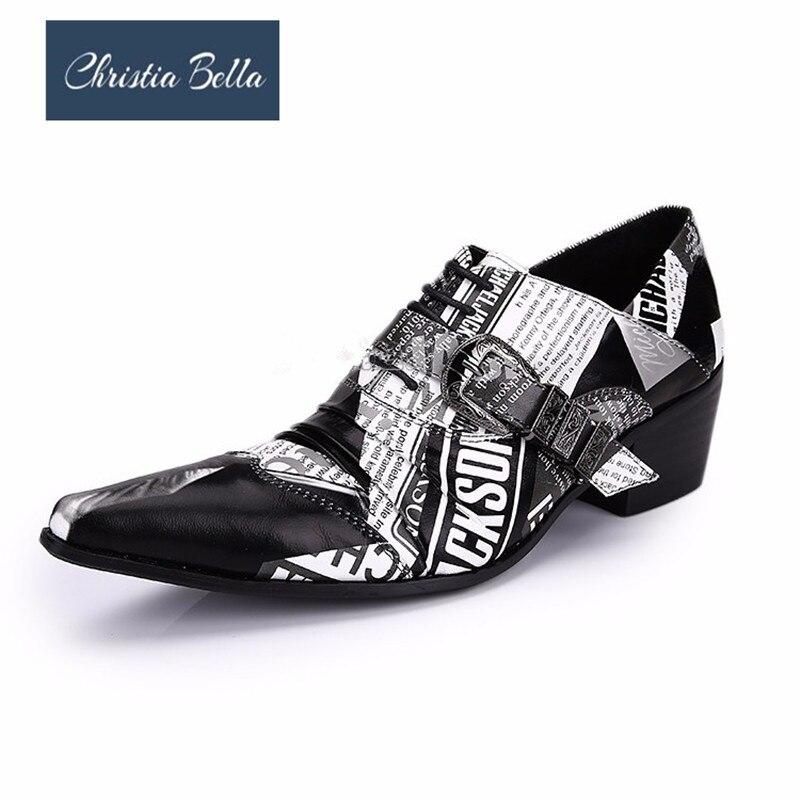 Style Impression Hommes Up Britannique Pointu Multi Homme Chaussures En Bella Dentelle Véritable Cuir Journal Oxford D'affaires Christia Bout Richelieu AIXgExwqO