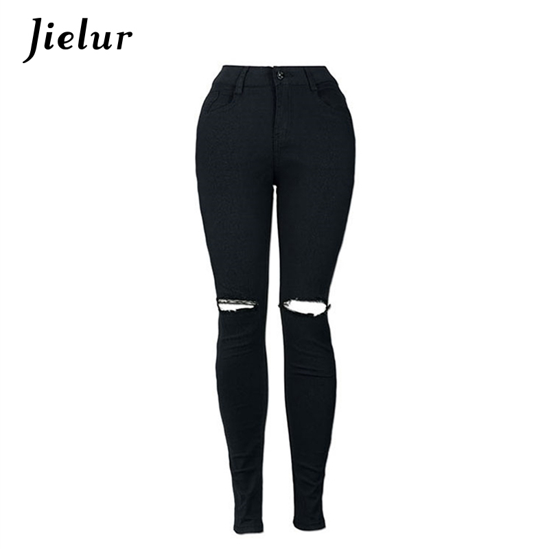 American New Street Popular Beggars Hole High Waist Jeans Slim Elastic Ripped Jeans Solid Color White Trousers for Women S-2XL