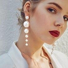 Nueva llegada simulada-perla para mujer pendientes colgantes tamaño de personaje pendientes largos para mujeres gotas pendientes borla pendientes
