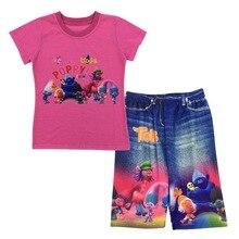 2017 D'été Trolls Enfants Filles Ensemble À Manches Courtes T-Shirt + Shorts pantalon 2 pcs/ensemble Filles Set Enfants Costume H788