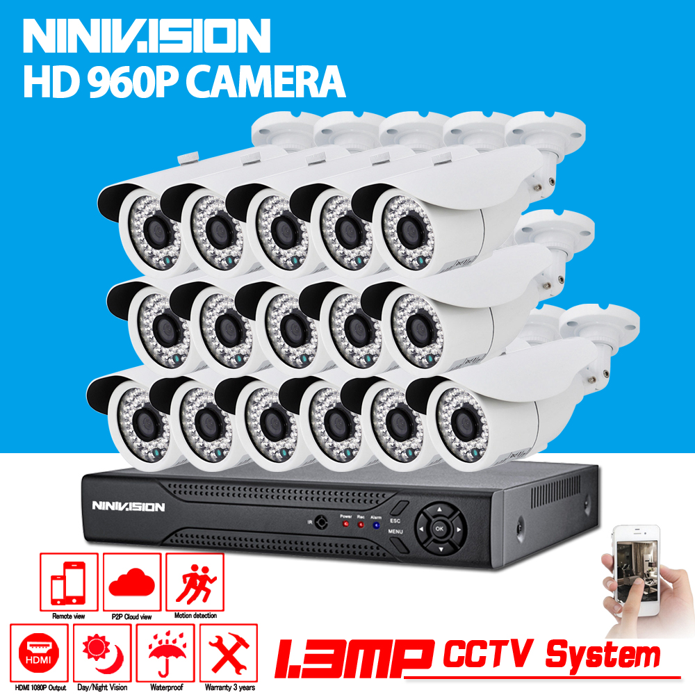 16CH CCTV DVR System AHD DVR 720P HD 1.3 Megapixels Enhanced IR Security Camera with 36 LEDs 2500TVL Camera Security System
