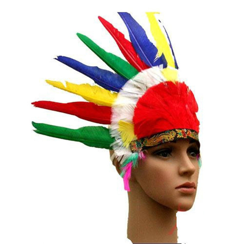 Indian Feather Headband Chiefs Hat For Masquerade Party Performance