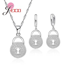 JEXXI Exquisite 925 Sterling Silver Lock Shape Necklace And Earring Jewelry Set Elegant Gifts For Women Wedding Engagement