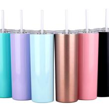 3e478c5005a 20oz Slim Tumblers with Lids and Straws,Stainless Steel Double Vacuum  Insulated Unbreakable Tumbler Cup