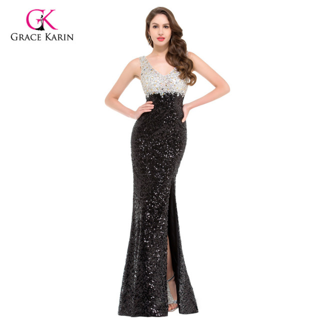 Luxury Mermaid Evening Dresses Grace Karin Black Sequins Beaded 2018