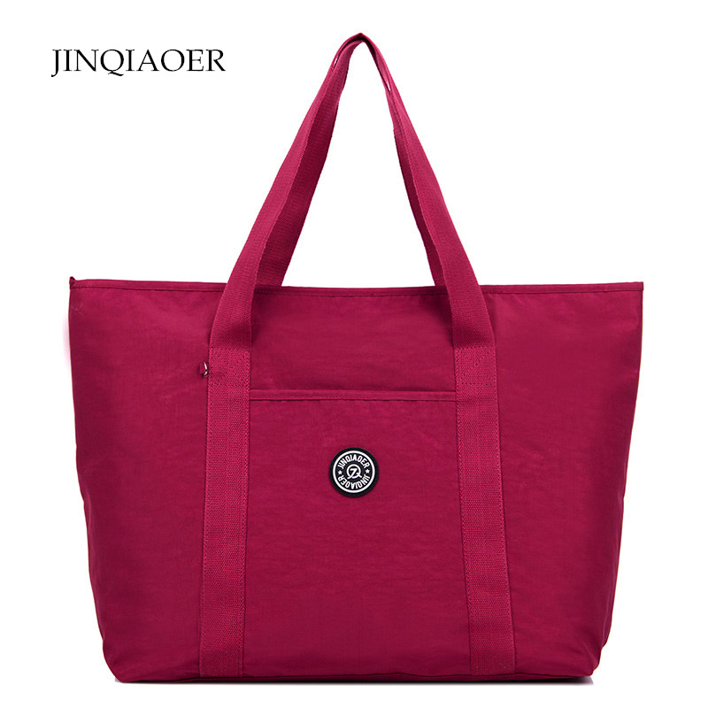 JINQIAOER Large Capacity Women Shoulder Bags Waterproof Nylon Travel Beach Bags Female Casual Tote Bag Handbags bolsa feminina