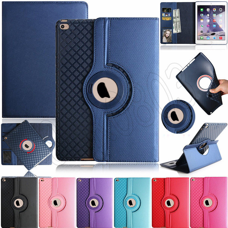 For Apple iPad 2 3 4 Case 360 Degree Rotating PU Leather Stand Flip Folio Tablet Cover for iPad 2 iPad 3 iPad 4 With Card Slot protective pu leather stand folio case cover for apple ipad mini